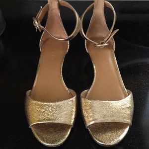 j. Crew Gold ankle strap sandals